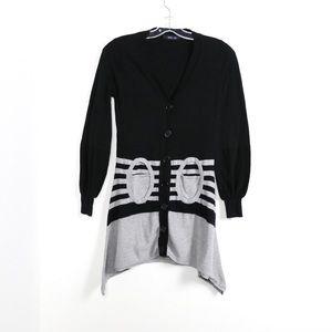 Anna Sui high low asymmetric cardigan striped knit